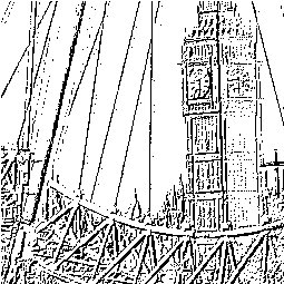 Line drawing made by processing the Big Ben photo