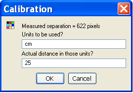 Distance calibration dialogue