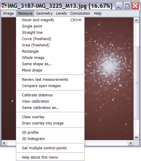 The image measurement menu