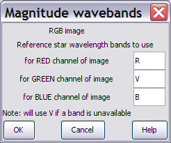Dialogue for setting wavebands for magnitude estimating