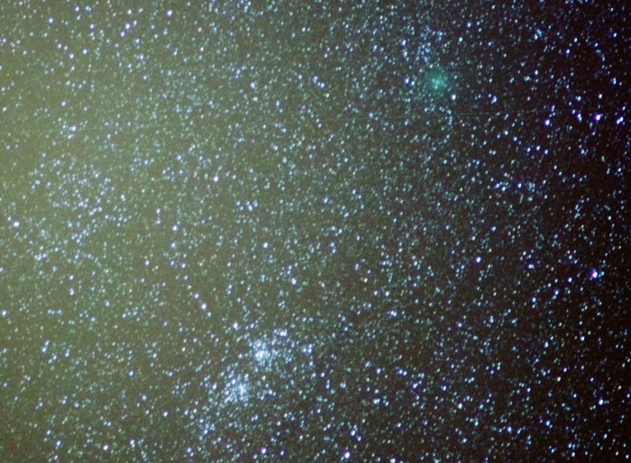 Photo showing both comet 103P and the Perseus double cluster.