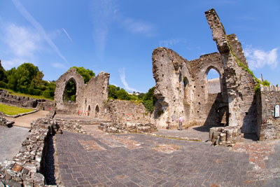 Fish-eye view of St Dogmael's Abbey, Cardigan, Wales