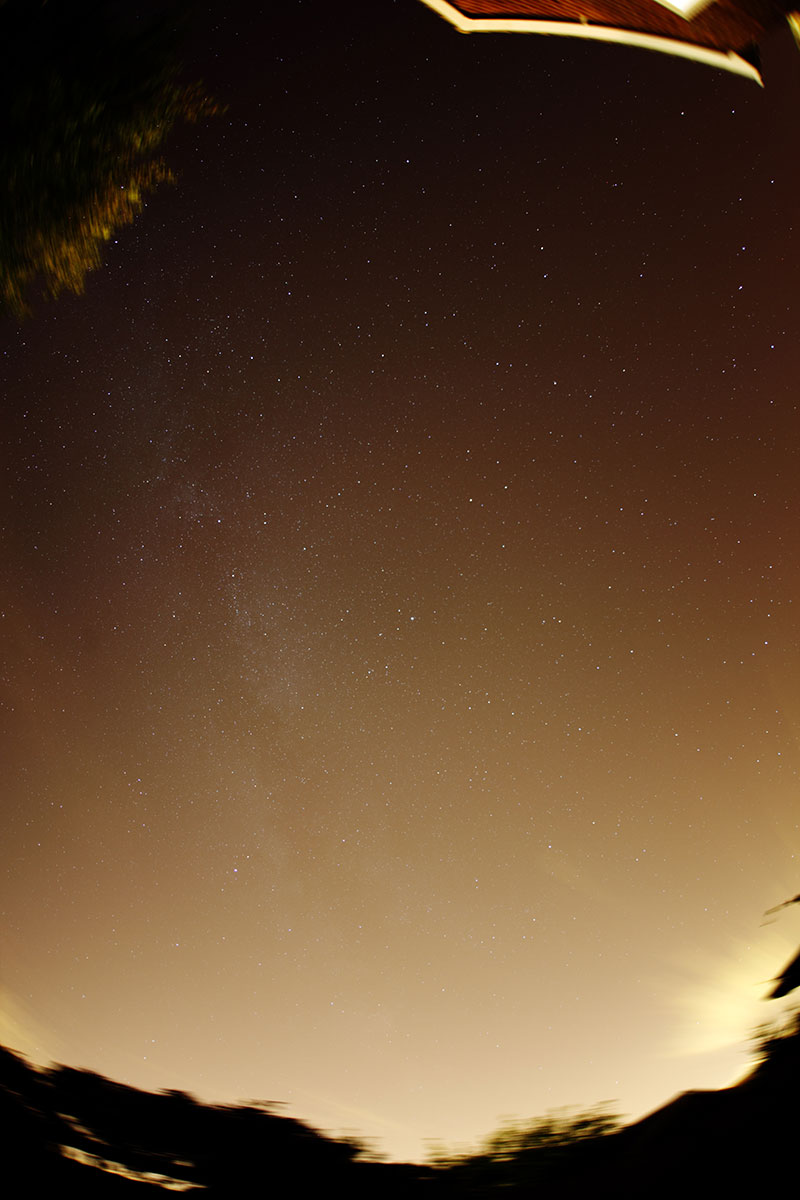 Fish-eye view of the whole sky from suburban site