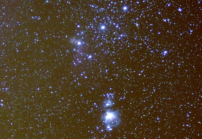 Orion's belt and nebulae near it